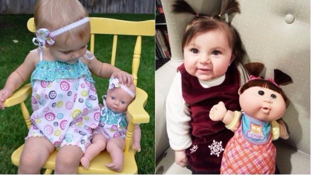 Recunoaște jucăria! 10 fotografii cu prichindei care arată la fel ca păpușile lor