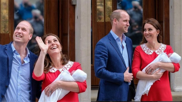 Primele imagini cu bebelușul regal! Kate Middleton și Prințul William au prezentat lumii noul născut la ieșirea din spital